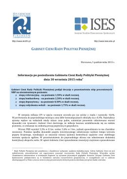 Informacja po posiedzeniu Gabinetu Cieni RPP – październik 2015
