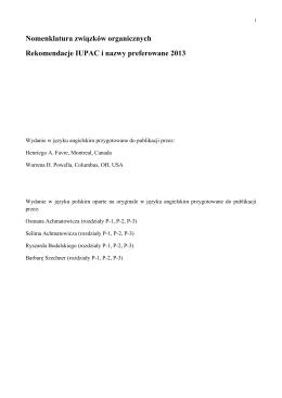 Nomenklatura związków organicznych Rekomendacje IUPAC i