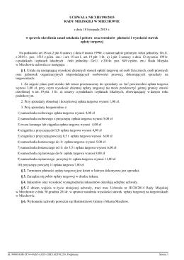 określenia zasad ustalenia i poboru oraz terminów płatności