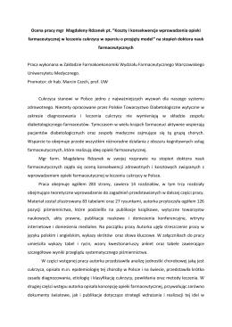 "Ocena pracy mgr Magdaleny Rdzanek pt. ""Koszty i konsekwencje"