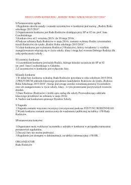 "REGULAMIN KONKURSU ""RODZIC ROKU SZKOLNEGO 2015"