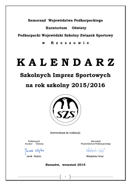 Kalendarz szkolnych imprez sportowych na rok 2015/2016