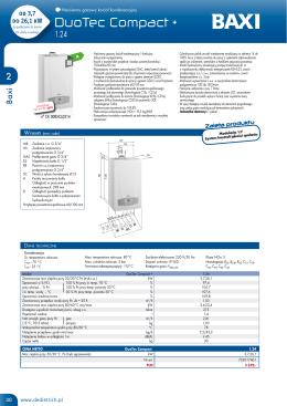 Dane techniczne BAXI DuoTec Compact + 1.24