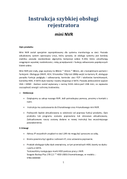Instrukcja szybkiej obsługi rejestratora mini NVR
