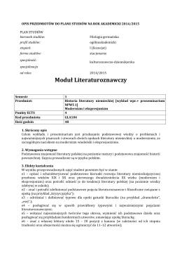 Moduł Literaturoznawczy - germanistyka.uni.lodz.pl