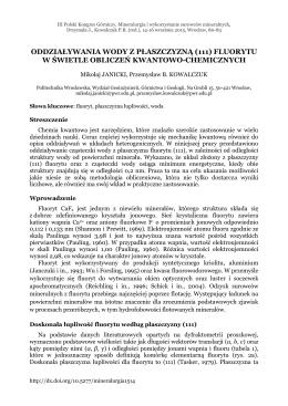 fluorytu w świetle obliczeń kwantowo-chemicznych