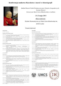 Program konferencji - Muzeum Lubelskie w Lublinie