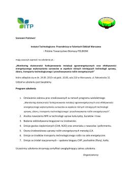 i Polskie Towarzystwo Biomasy POLBIOM Udział w szkoleniu jest