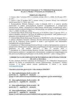 Regulamin rekrutacji do XCIV LO im