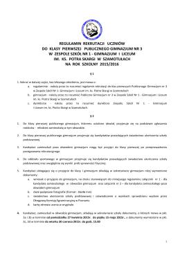 regulamin rekrutacji uczniów - Zespół Szkół Nr 1 Gimnazjum i