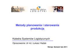 (Microsoft PowerPoint - Metody planowania i - WSL