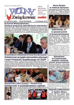Niezależnego Samorządnego Związku Zawodowego Nr 18/2015