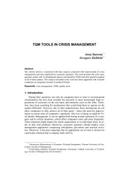 TQM tools in crisis management - Wydział Zarządzania i Ekonomii