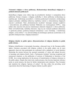 Tożsamość religijna w sferze publicznej. (Re)konstrukcje