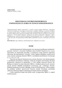 Identyfikacja antybiotykoopornych Staphylococcus aureus w zupach