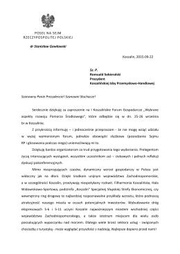 Komunikat Posła na Sejm RP Stanisława Gawłowskiego.
