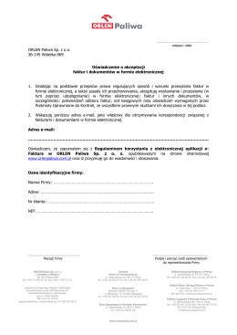 Oświadczenie o akceptacji faktur i dokumentów w formie
