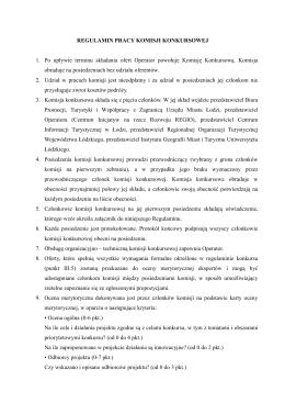 Regulamin pracy komisji konkursowej