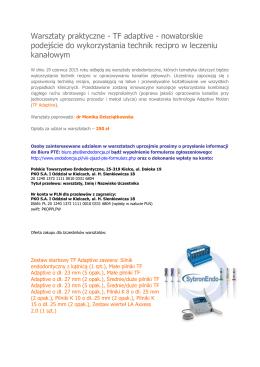 Warsztaty praktyczne - TF adaptive - nowatorskie podejście do