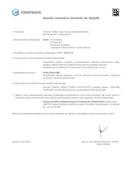 krajowa deklaracja zgodności nr 2015/04 - Gdańsk