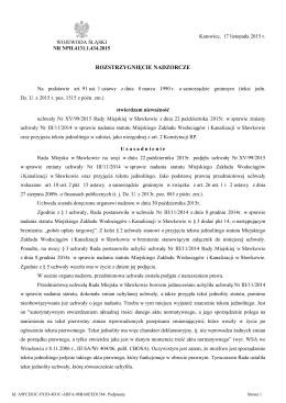 stwierdzające nieważność uchwały Nr XV/99/2015 Rady Miejskiej w
