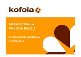 Wyniki Grupy Kofola za 3M/2015