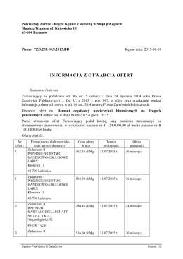 Otwarcie ofert - Powiatowy Zarząd Dróg w Kępnie