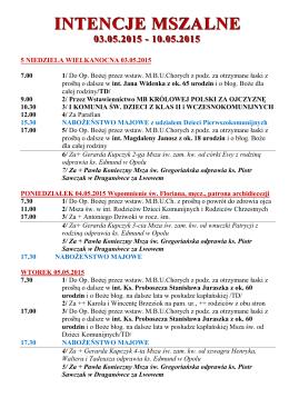 intencje mszalne 03.05.2015
