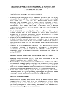 Zasady Rekrutacji - Zespół Szkół w Drygałach