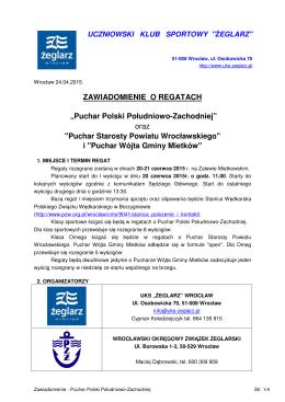 """ZAWIADOMIENIE O REGATACH """"Puchar Polski Południowo"""