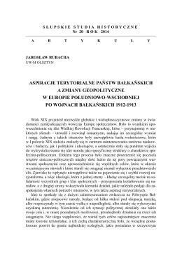 aspiracje terytorialne państw bałkańskich a zmiany geopolityczne w