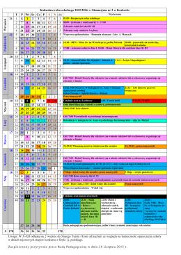 Kalendarz roku szkolnego 2015/2016 w Gimnazjum nr 2 w Krakowie