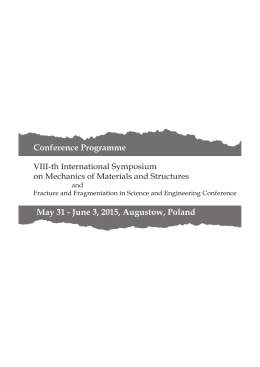 conference programme - The 8th International Symposium on