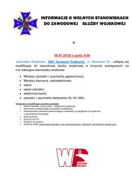 informacje o wolnych stanowiskach do zawodowej służby