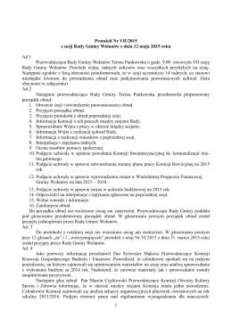 1 Protokół Nr VII/2015 z sesji Rady Gminy Wolanów z dnia 12 maja