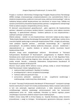 Wystąpienie na Kongresie Organizacji Proobronnych marzec 2015