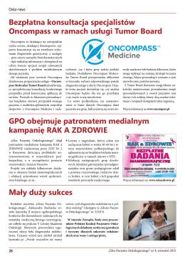 Bezpłatna konsultacja specjalistów Oncompass w ramach usługi