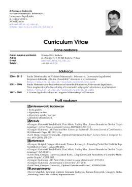 życiorys - Grzegorz Gutowski - Algorithmics Research Group