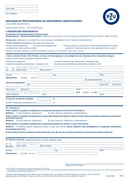 deklaracja przystąpienia do grupowego ubezpieczenia