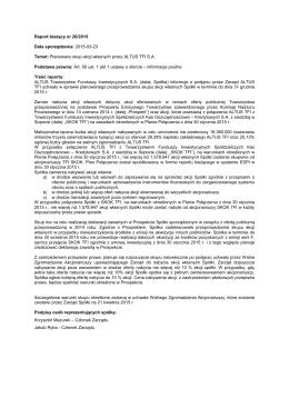 Planowany skup akcji własnych przez ALTUS TFI S.A.