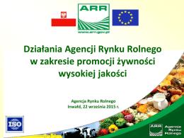 Działania Agencji Rynku Rolnego w zakresie promocji żywności