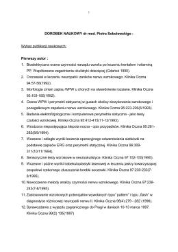DOROBEK NAUKOWY dr med - Centrum Okulistyczno Laserowe