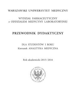 I rok - Wydział Farmaceutyczny - Warszawski Uniwersytet Medyczny