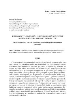 Interdyscyplinarność i uniwersalność koncepcji redukcji ryzyka klęsk