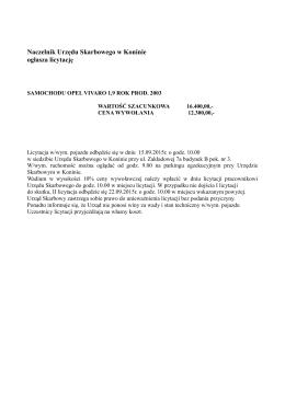 Obwieszczenie o licytacji 1 Naczelnika Urzędu Skarbowego w