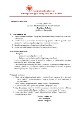 """Hasło promujące kampanię """"Pola Nadziei"""""""
