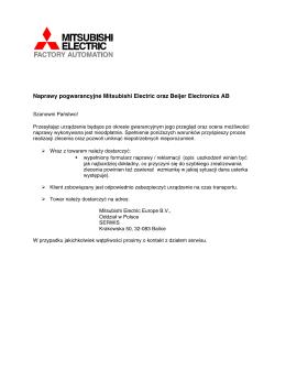 Naprawy pogwarancyjne Mitsubishi Electric oraz Beijer Electronics AB