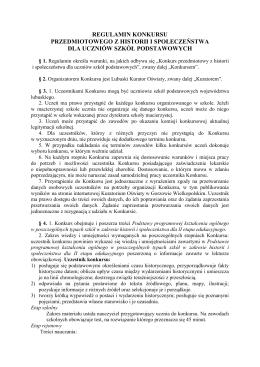 Regulamin konkursu przedmiotowego z historii i społeczeństwa