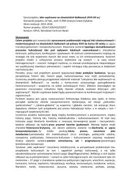 Tytuł projektu: Idee wędrowne na słowiańskich Bałkanach (XVII