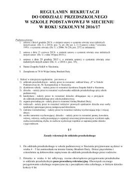 regulamin rekrutacji do oddziału przedszkolnego w szkole